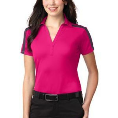 Ladies Silk Touch™ Performance Colorblock Stripe Polo Thumbnail