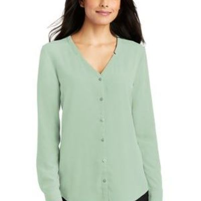 Ladies Long Sleeve Button Front Blouse Thumbnail