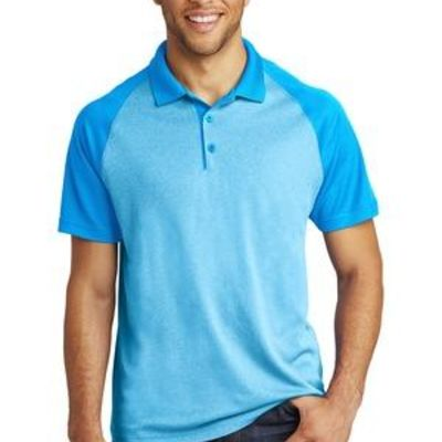 ® PosiCharge ® RacerMesh ® Raglan Heather Block Polo Thumbnail