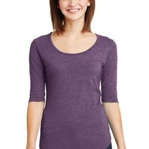 Ladies Tri Blend Deep Scoop Neck 1/2 Sleeve Tee Thumbnail
